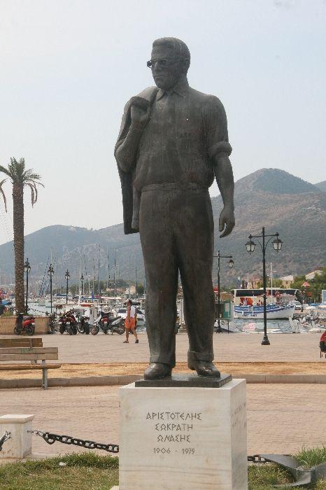 Aristotle Onassis statue on the seaside of Lefkada city