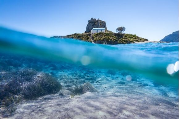 The Kastri islet near in Kos island underwater view