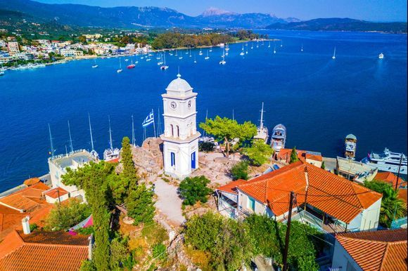 Clock Tower, Poros island, Greece 🇬🇷 This clock tower is an imposing feature and the landmark of Poros Town. It stands on the highest spot of the town and gives a great view of the sea.