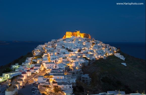 Querini castle at night - Astypalea