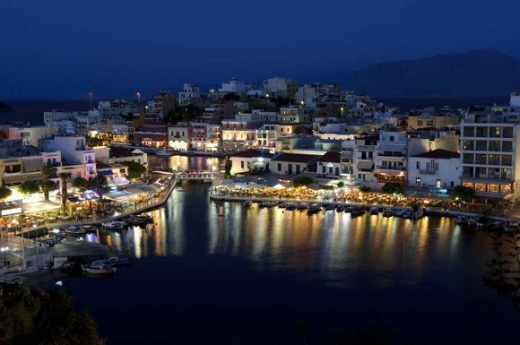 The endless lake at small harmonious charming town Ag.Nikolaos