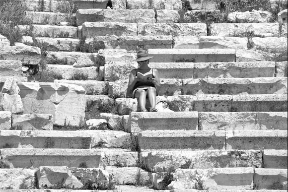 Reading Oedipus the King in the theater of Dionysus, Athens, Greece