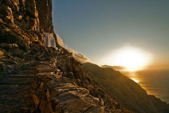 sunrise view to monastery of hozoviotissa