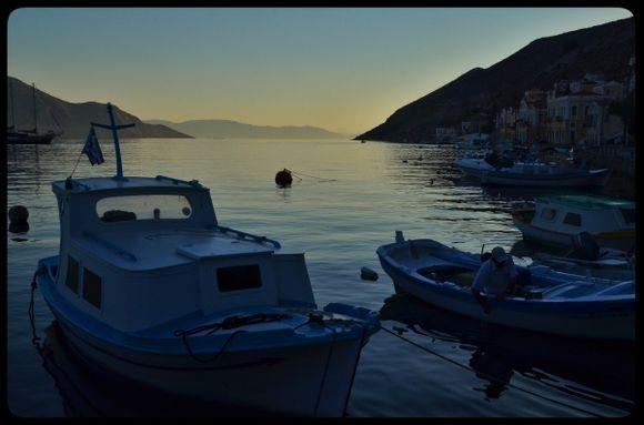 Symi harbour at dawn