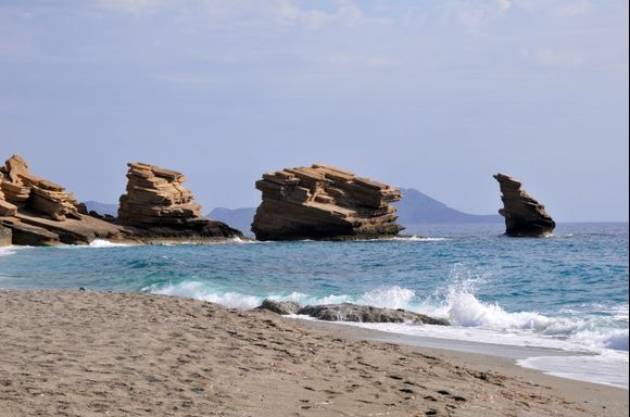 The beautifull beach of Triopetra in the south of Crete.