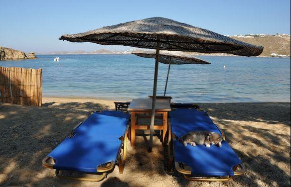 The only tourist on Agia anna beach!!!