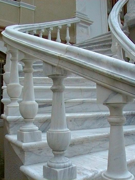 Front stairs at the Maria Tsakos Foundation, National Center of Maritime Research and Tradition. Chios
