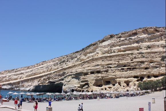 Matala beach was truly one of a kind with amazing rock formations.