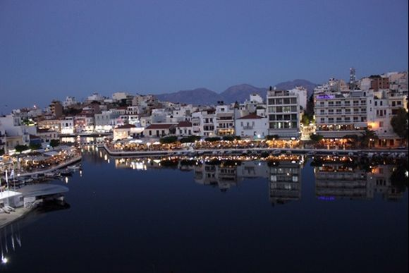 The beautiful town of Agio Nikolas at night