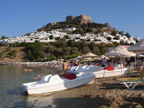 The view of Acropolis in Lindos from the ebach