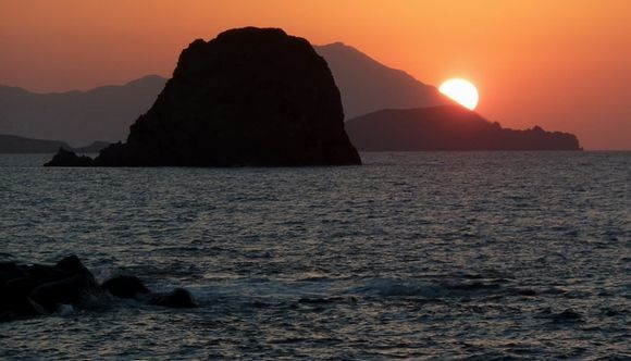 The famous sunsets in Pollonia, Milos