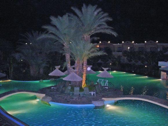Night view of Kalathos beach in Rhodes