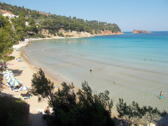 The beautiful sandy beach at Chrisi Milia