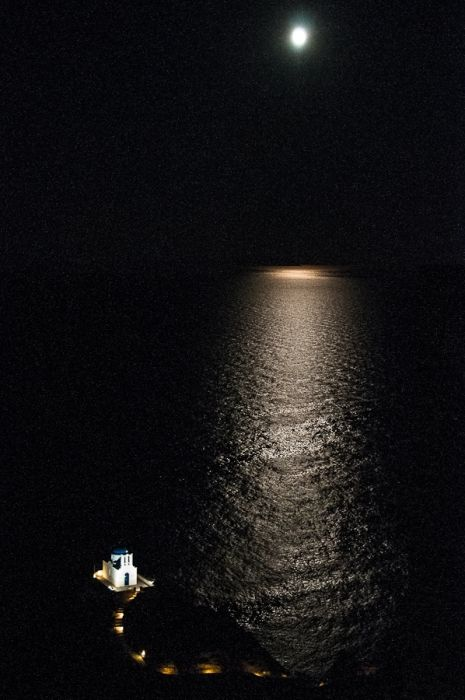 An incredible moonlight on the sea from the top of the Kastro village in the peaceful Sifnos.