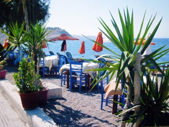 Ready for lunch on Petra Beach, Lesvos.