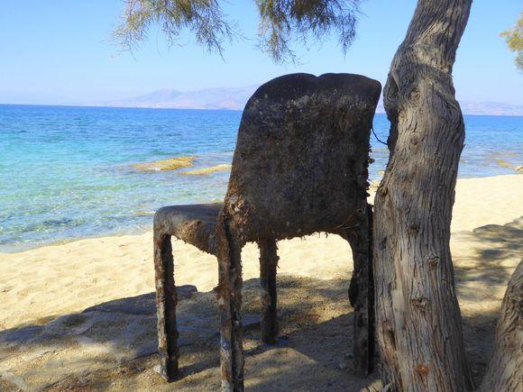 Crusty old chair on Agia Anna beach.
