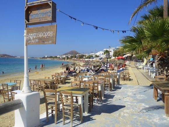The lovely sea front in the pretty resort of Agia Anna.