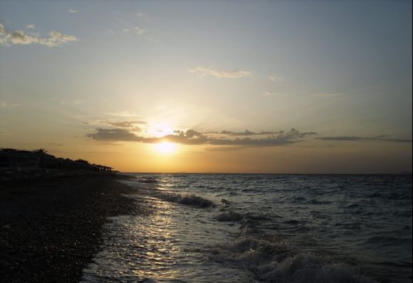 Sunset at the shore in Ialyssos