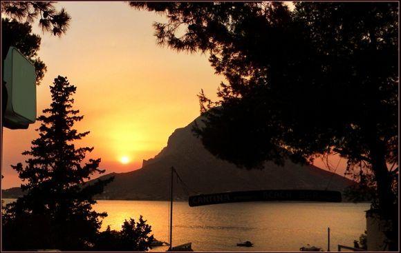 Sunset behind Telendos.