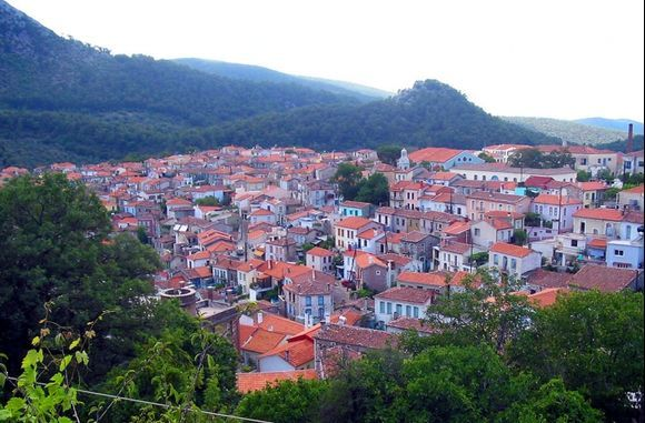 The red rooftops in the mountain village of Agiassos, in the shadow of mount Olympos.