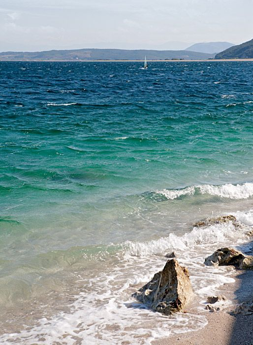 View from the beach at the old port, Lefkada town