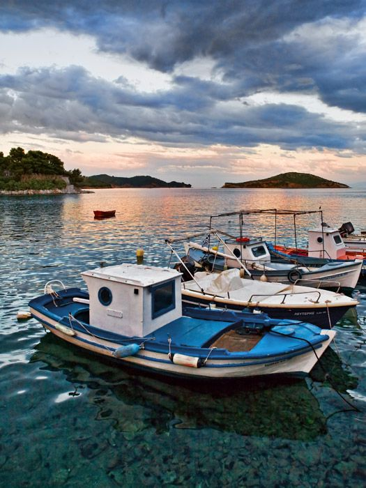 Sunset in Skiathos town port