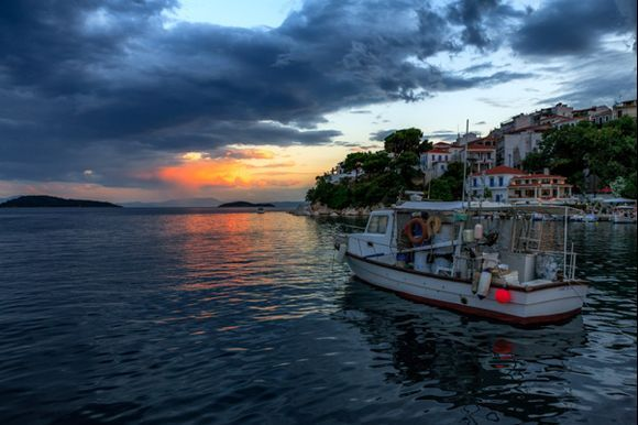 Sunset over Skiathos bay