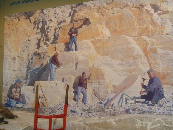 men at work in marble museum, Tinos, Pyrgos