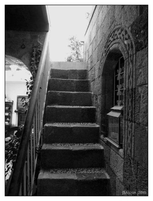 Steps to a roof terrace, Lindos Taverna...