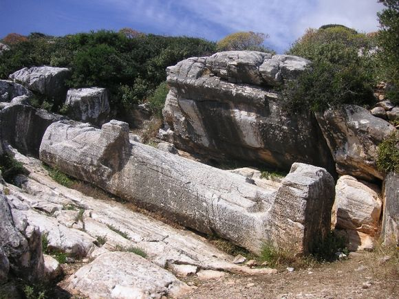 The half finished colossal Kouros in Apollonas