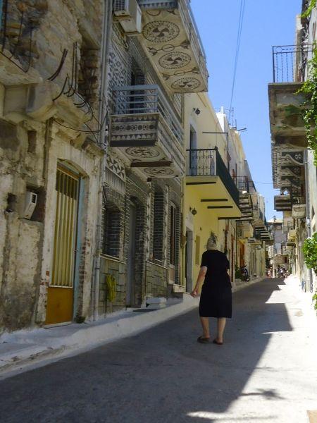 granny walking Pyrgi street