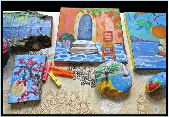 14-09-2020 Ikaria: Small simple works of art made by nuns in a Monastery on Ikaria