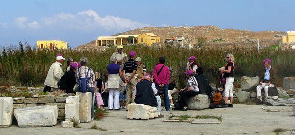 10-09-2009 Mykonos: Delos  .......Do the purple caps want to listen carefully !!