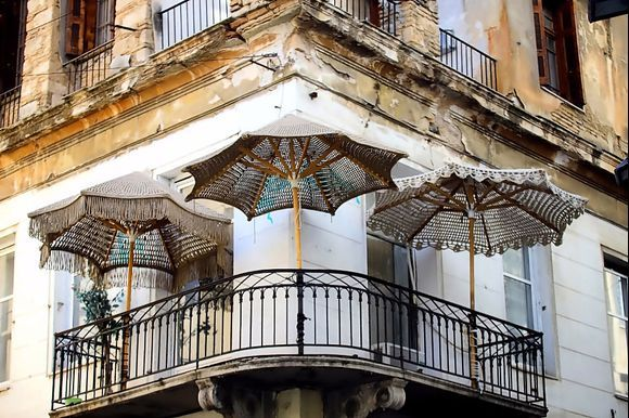 a balcony in the Athinas Street