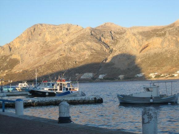 Kalymnos, shadow of Telendos on Myrties