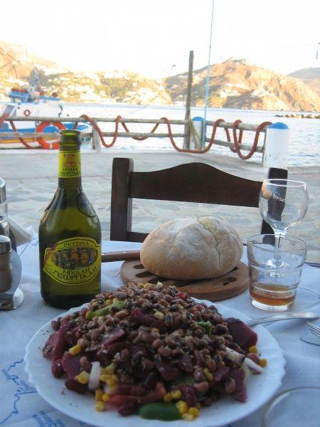Telendos, Zorba\'s restaurant, delicious salad and view