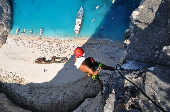My feet right on the edge of the 200m cliff. This shot was taken by Dimitrios Kontizas.