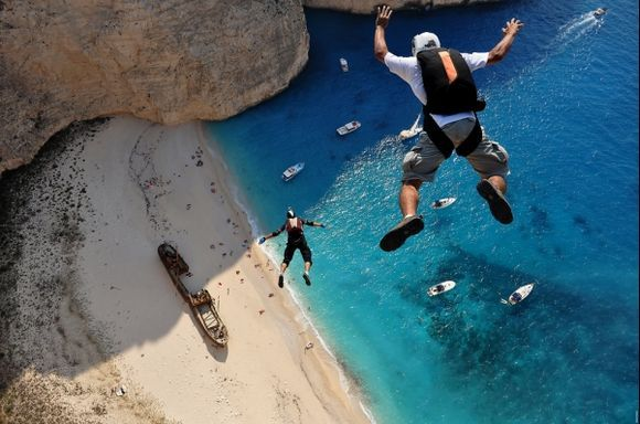 Hubert and Keds are charging towards the Navagio beach during the ProBase Shipwreck Boogie 2011. This shot was taken by Dimitrios Kontizas.