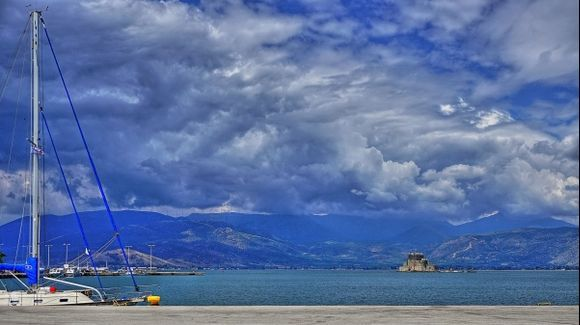 Nafplion harbor clouds