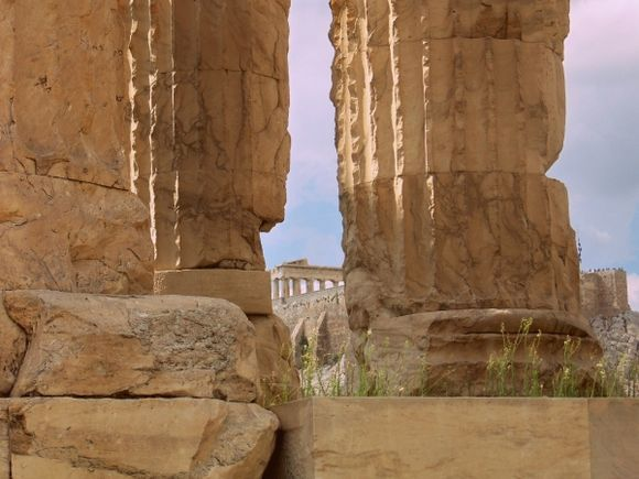 Zeus Temple and view of Parthenon.