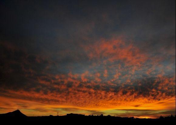 Morning landscape before sunrise over the Akrotiri. Taken from Kampani village and Mt. Skloka is the point in the bottom left.