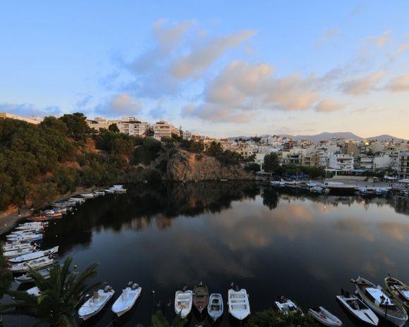 First light of the day on the sea lake of Agios Nikolaos
