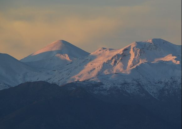 A morning view of the snow-capped White Mountains of Chania shot from the Akrotiri.