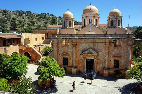 Tourists visit the Agia Triada of Tzagarolon monastery to explore the beauty.