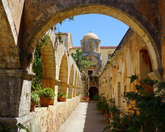 Beautiful domes and arches are everywhere you look inside the Agia Triada of Tzagarolon monastery.