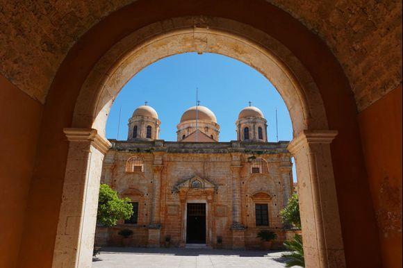 The main archway entering the Agia Triada of Tzagarolon monastery.