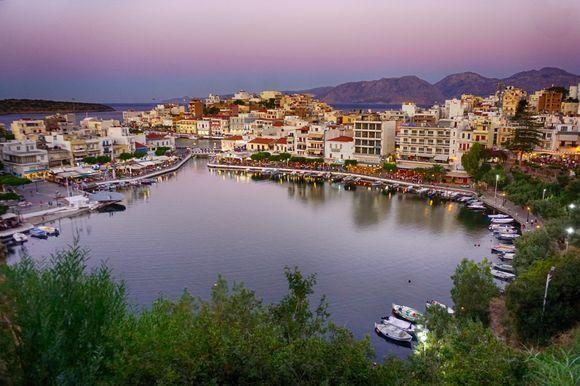 An evening view of Agios Nikolaos' Lake Voulismeni.