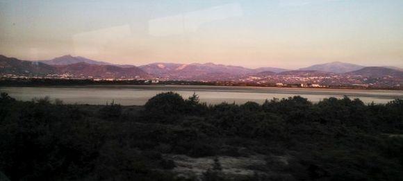 Salt lake view at sunset