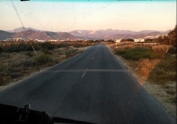 on the road at sunset...