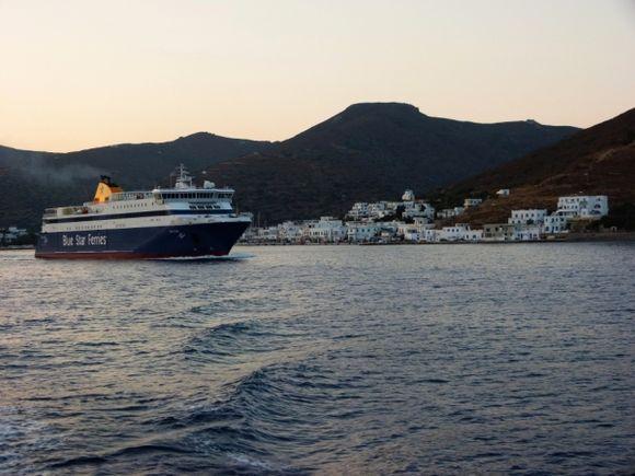 Ferry and Katapola at daybreak
